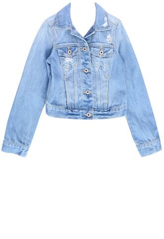 Jaqueta Jeans Abercrombie & Fitch Destroyed Azul