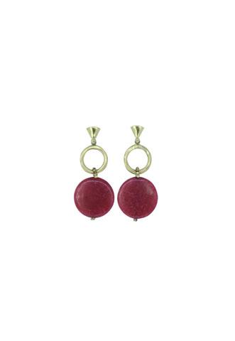 Brinco Accessorize Pingente Dourado/Rosa