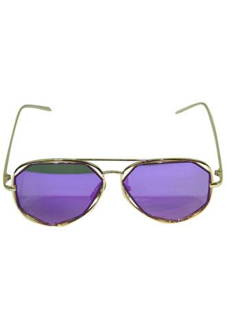Óculos Amaro Geométrico Dourado/Roxo