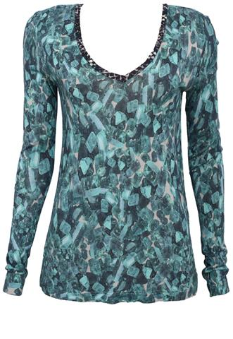 Blusa Animale Estampada Verde
