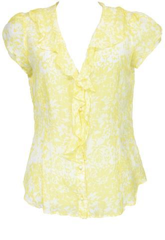 Blusa Banana Republic Seda Amarela/Branca