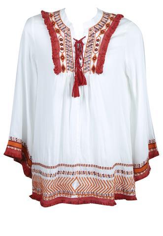 Blusa Canal Étnica Branca/Vermelha
