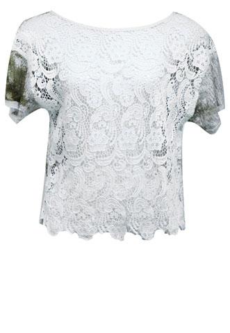 Blusa Espaço Fashion Guipir Branca/Marrom
