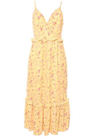 Vestido Midi Esmeral Floral Amarelo