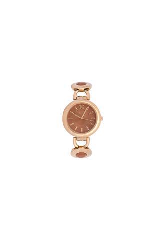 Relógio Euro Pedras Marrom/Dourado