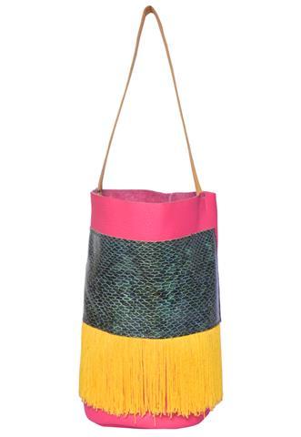 Bolsa Gloriaca Franja Rosa/Verde/Amarela