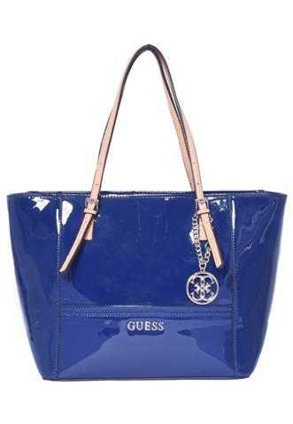 Bolsa Guess Verniz Azul/Bege