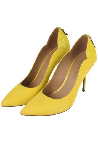 Scarpin Lança Perfume Texturizado Amarelo