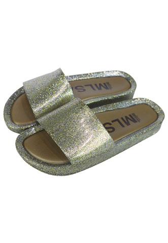 Rasteira Slide Melissa Glitter Dourada/Prata