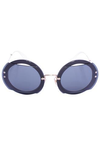 Óculos de Sol Miu Miu Redondo Preto/Branco