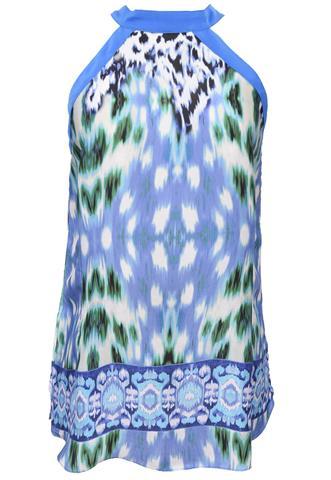Blusa Morena Rosa Cetim Estampada Azul