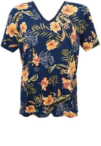 Blusa Polo Wear Flores Azul