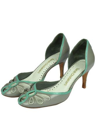 Scarpin Sarah Chofakian Dorsay Cinza/Verde