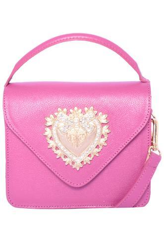 Bolsa Coração Dourado Rosa