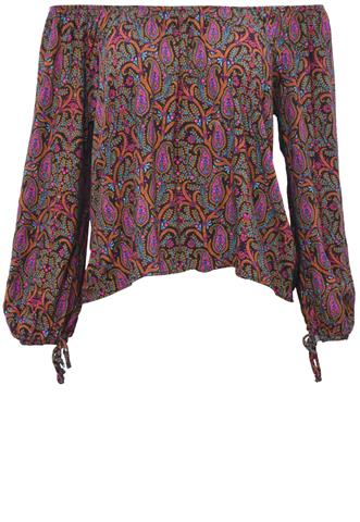 Blusa Cropped Preta/Roxa