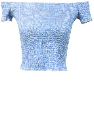 Blusa Sem Marca Listrada Azul/Branca