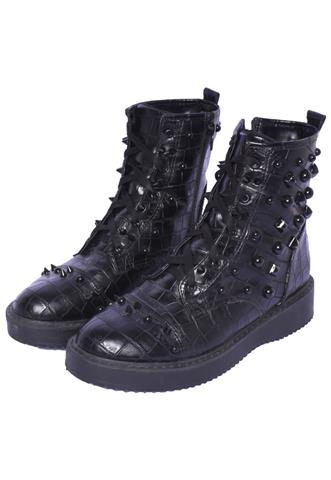 Bota Coturno Spot Shoes Croco Preto
