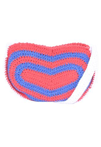 Bolsa Temos Vagas Crochê Vermelha/Azul/Branca
